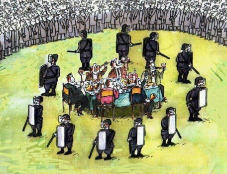 Indignation - caricature - souper au milieu et police autour
